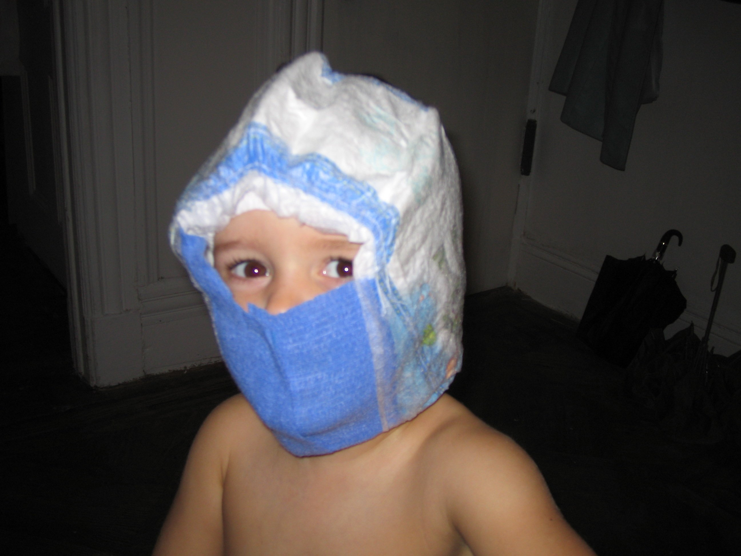 In a pinch, diapers can also be used as a subsitute for a Sub Zero mask.